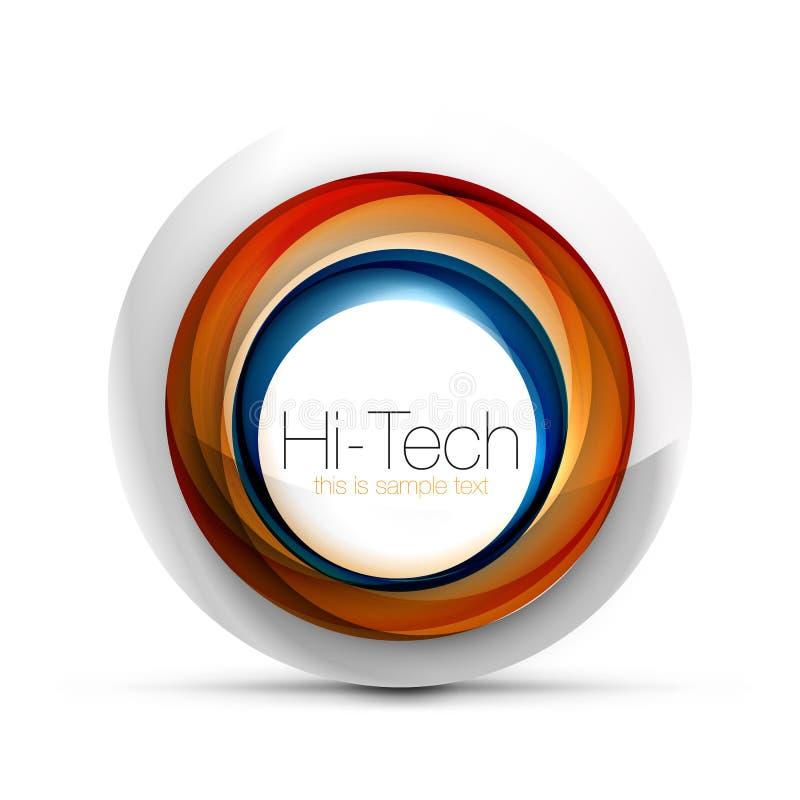 Baner, knapp eller symbol för rengöringsduk för Digital technosfär med text Glansig design för cirkel för virvelfärgabstrakt begr stock illustrationer