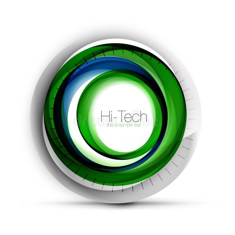 Baner, knapp eller symbol för rengöringsduk för Digital technosfär med text Glansig design för cirkel för virvelfärgabstrakt begr vektor illustrationer