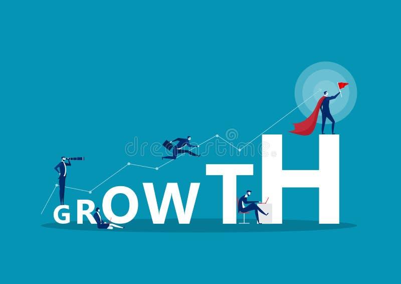 Baner koncepcji wyrazu GROWTH Koncepcja z osobami royalty ilustracja