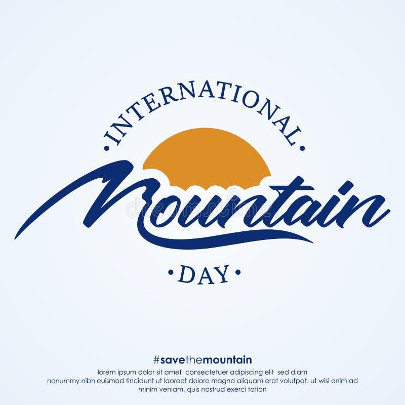 Baner kreatywny Letter International Mountain Day z niebieskim kolorem ilustracji
