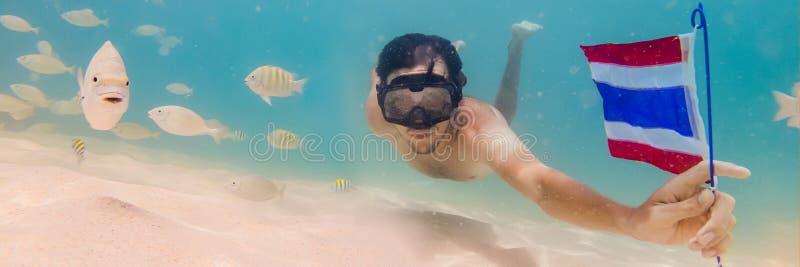 BANER lycklig man för LÅNGT FORMAT, i att snorkla maskeringsdyken som är undervattens- med tropiska fiskar med den Thailand flagg royaltyfri bild