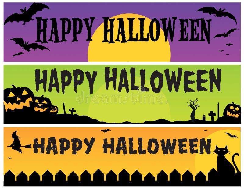 baner lyckliga halloween vektor illustrationer
