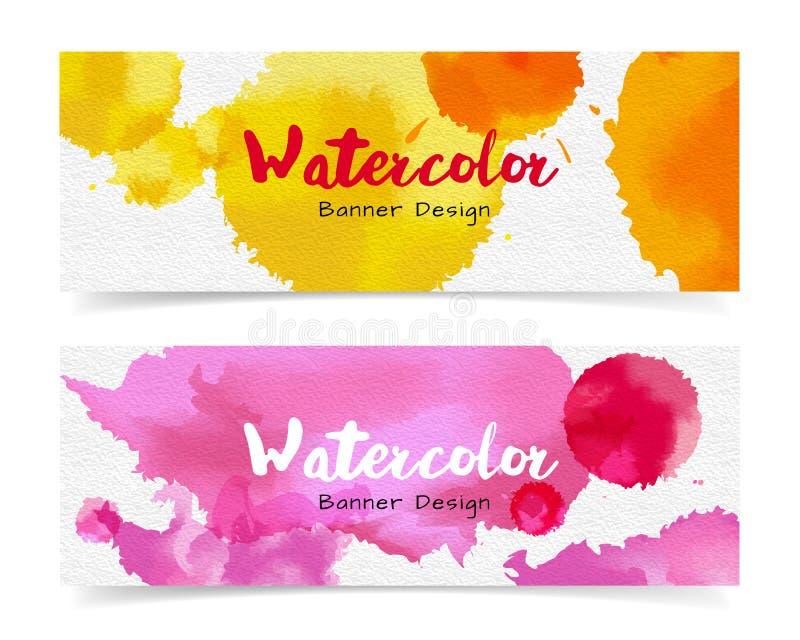 Baner med abstrakt vattenfärgmålning på papper royaltyfri illustrationer