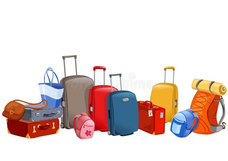 Baner med bagage, resväskor, ryggsäckar, packar stock illustrationer