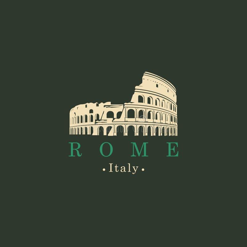 Baner med den forntida amfiteatercoliseumen i Rome stock illustrationer