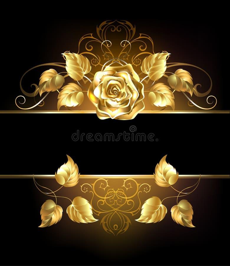 Baner med den guld- rosen royaltyfri illustrationer