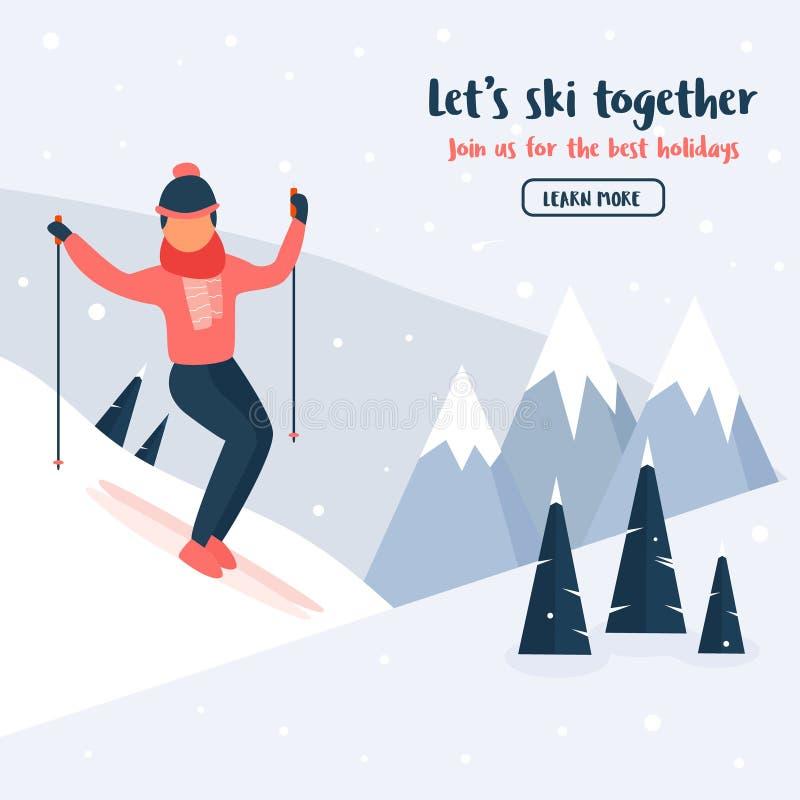 Baner med den unga skidåkaren Bergsportaktivitet vektor illustrationer