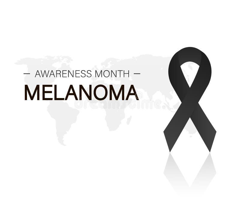 Baner med det realistiska svarta bandet för melanomcancermedvetenhet också vektor för coreldrawillustration royaltyfria bilder