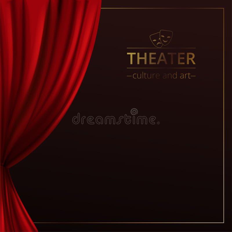 Baner med en etapp och sceniska röda gardiner på en mörk bakgrund med en guld- ram och logoen av teatern royaltyfri illustrationer