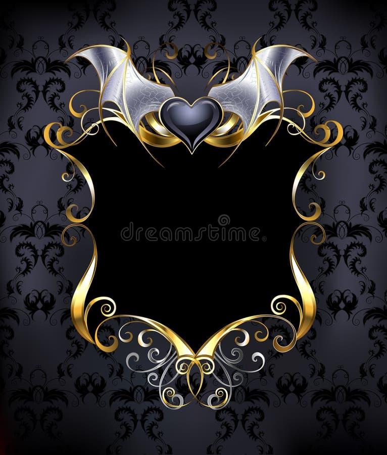 Baner med en hjärtavampyr vektor illustrationer