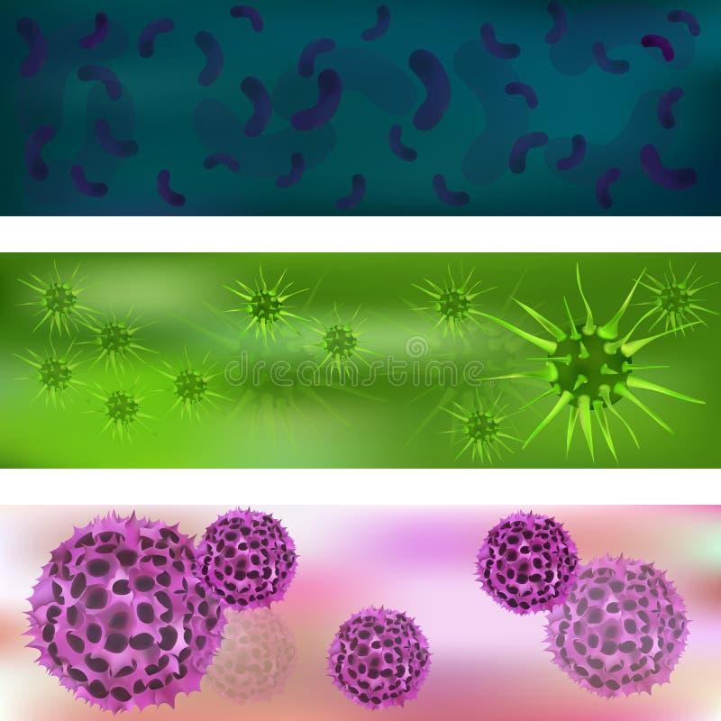 Baner med en uppsättning av virus och bakterier Virus och bakterier under mikroskopet Bakterie- virus, mikrobiella celler stock illustrationer