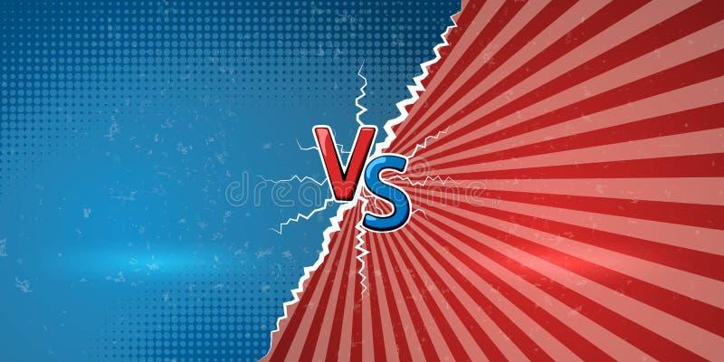 Baner med ett explosivt meddelande av konfrontation eller striden Idérika bokstäver VS oss ett symbol av kontra på retro bakgrund stock illustrationer