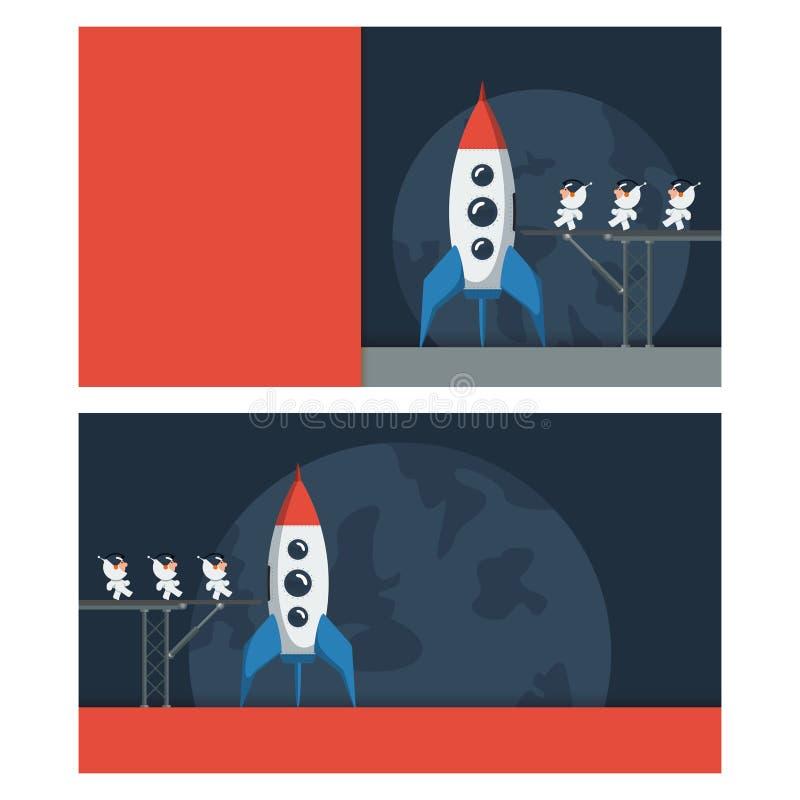 Baner med ett utrymmetema Små roliga astronaut på metallbron laddade in i rymdskeppet stock illustrationer