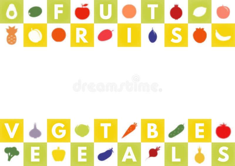 Baner med frukter och gr?nsaker royaltyfri illustrationer