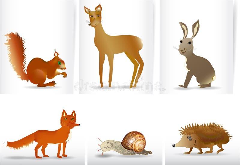 Baner med hand dragen vilda djur vektor illustrationer