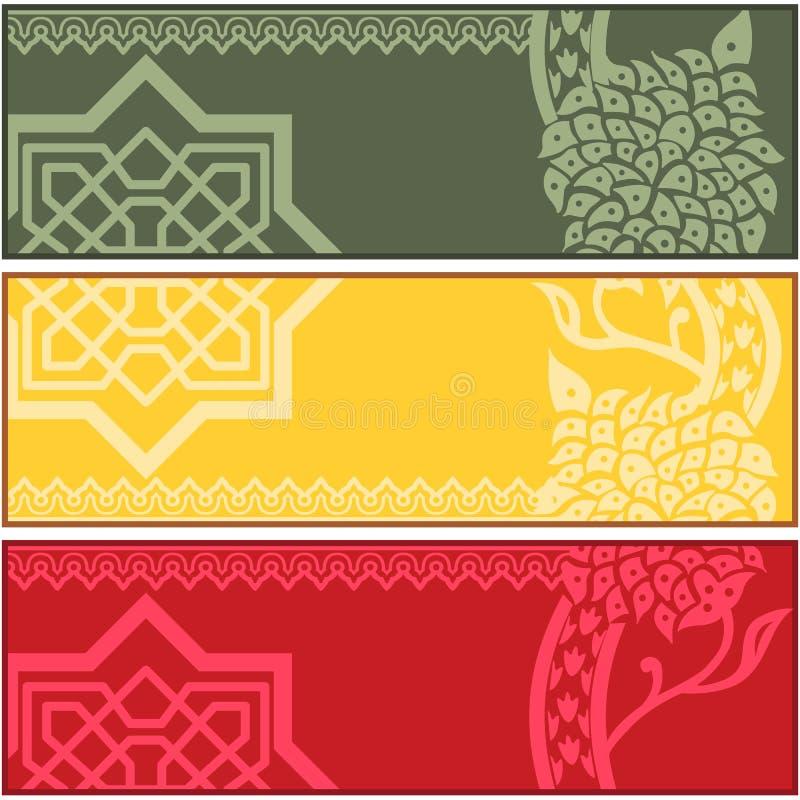 Baner med islamiska prydnader stock illustrationer