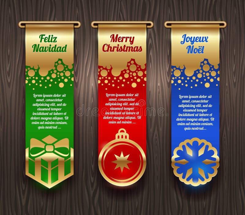 Baner med julhälsningar och tecken stock illustrationer