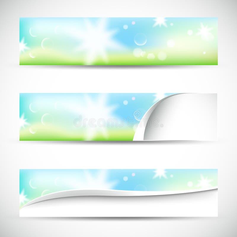 Baner med naturligt färgar stock illustrationer