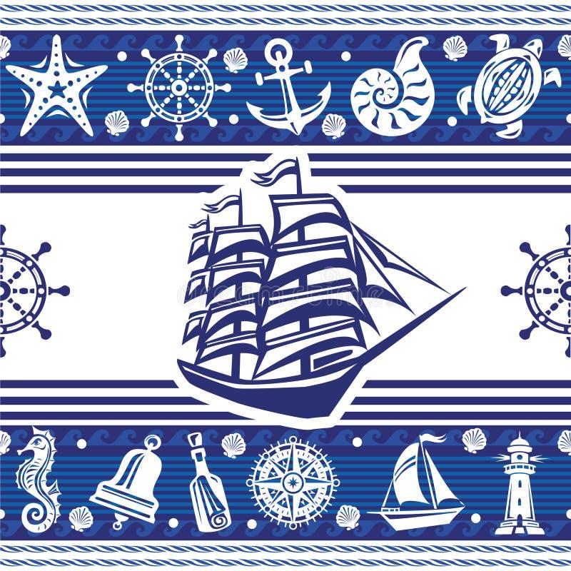 Baner med nautiska symboler vektor illustrationer