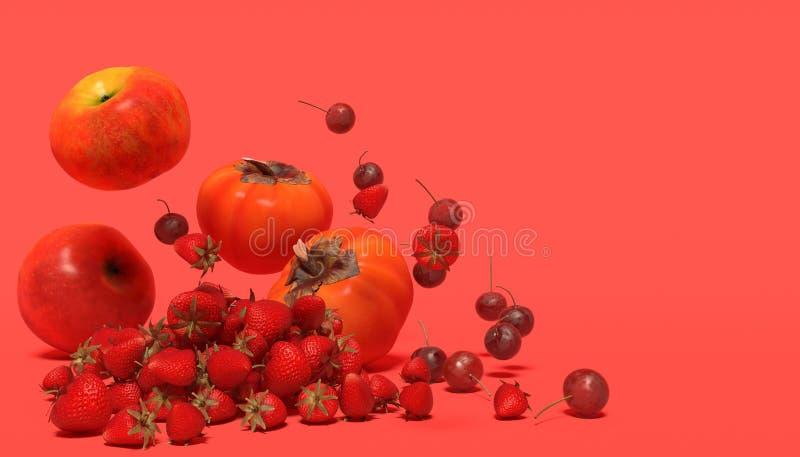 Baner med röda frukter på en röd bakgrund med fritt utrymme för text Sammansättning av den fal äpplen, jordgubben, körsbär och pe royaltyfri fotografi