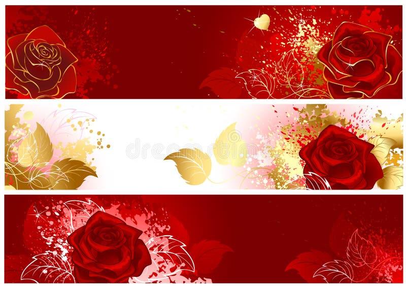 Baner med röda ro royaltyfri illustrationer