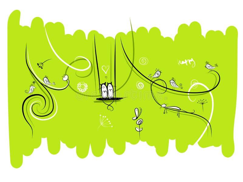 Baner med roliga fåglar och katter för din design stock illustrationer