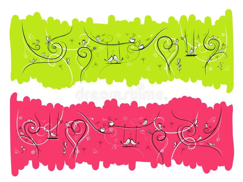 Baner med roliga fåglar och katter för din design royaltyfri illustrationer