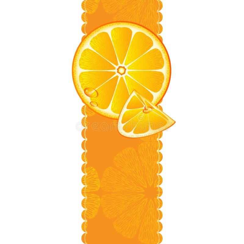 Baner med saftiga skivor av orange frukt royaltyfri illustrationer