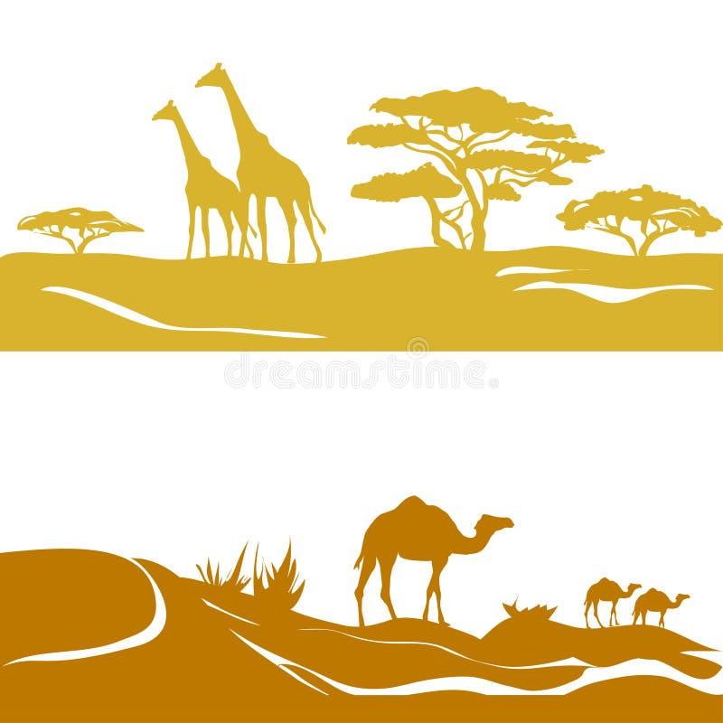 Baner med savann och öknen, kontur stock illustrationer