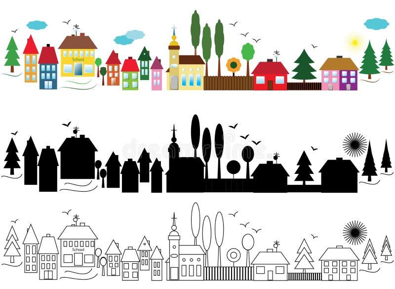 Baner med städer stock illustrationer