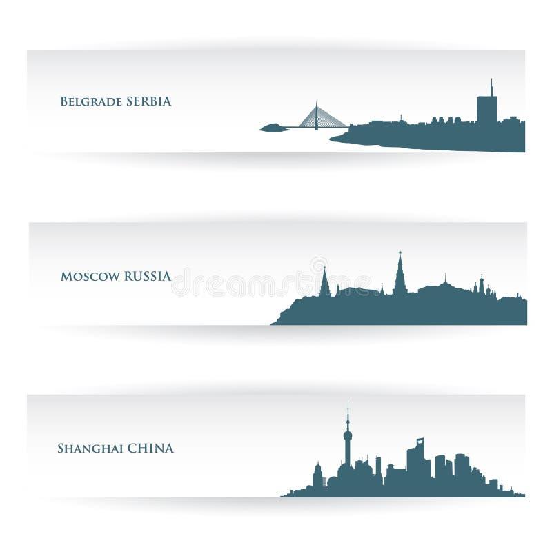 Baner med stadshorisonter vektor illustrationer