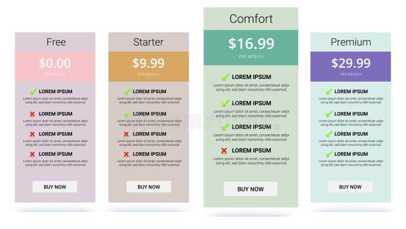 Baner med tariffplan Jämförelse av prissättningtabelluppsättningen royaltyfri illustrationer