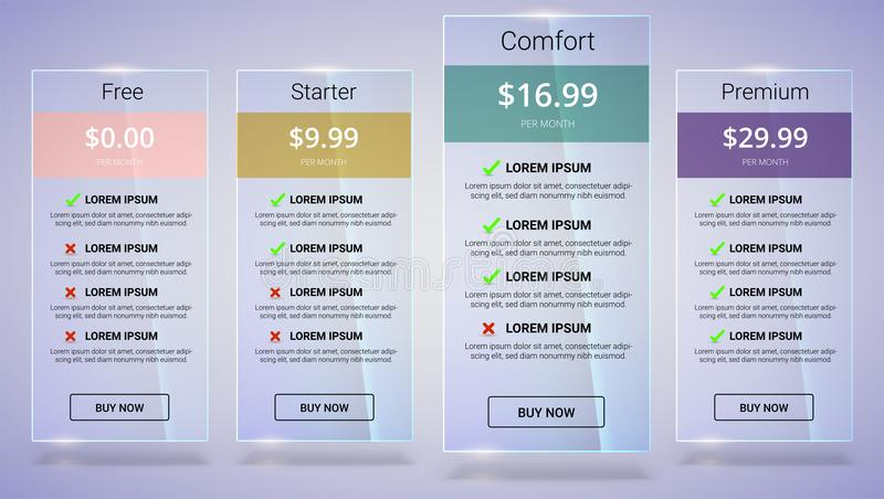 Baner med tariffplan Jämförelse av prissättningtabelluppsättningen för affären, kullista med kommersiellt plan Mall för stock illustrationer