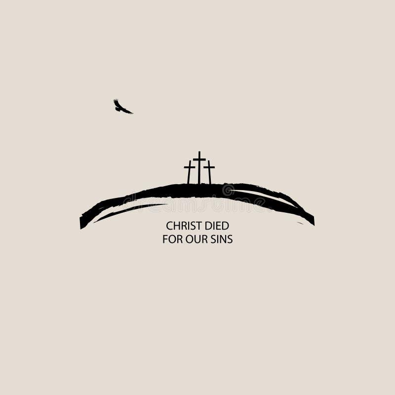 Baner med tre kors på kullen och örnen vektor illustrationer