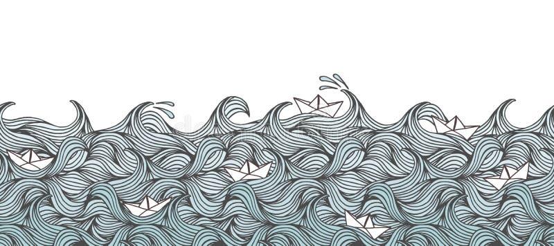 Baner med vågor och pappersfartyg royaltyfri illustrationer