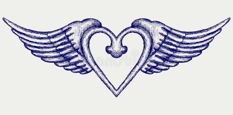 Baner med vingar stock illustrationer