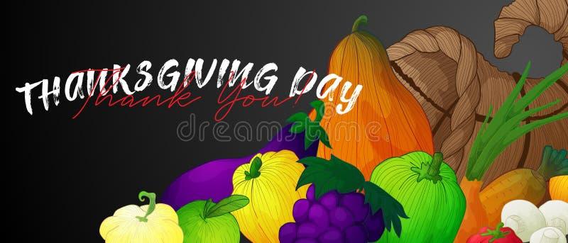 Baner med ymnighetshorn och grönsaker, frukter och champinjoner royaltyfri illustrationer