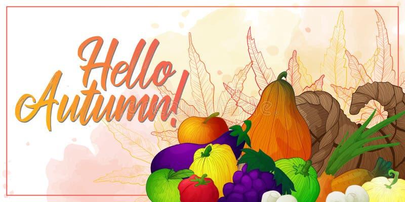 Baner med ymnighetshorn och grönsaker, frukter och champinjoner vektor illustrationer