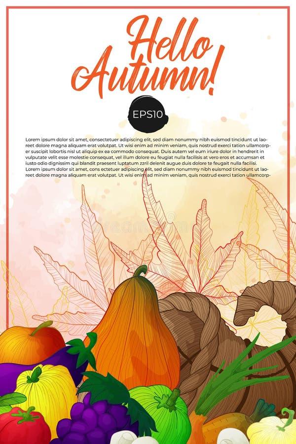 Baner med ymnighetshorn och grönsaker, frukter och champinjoner stock illustrationer