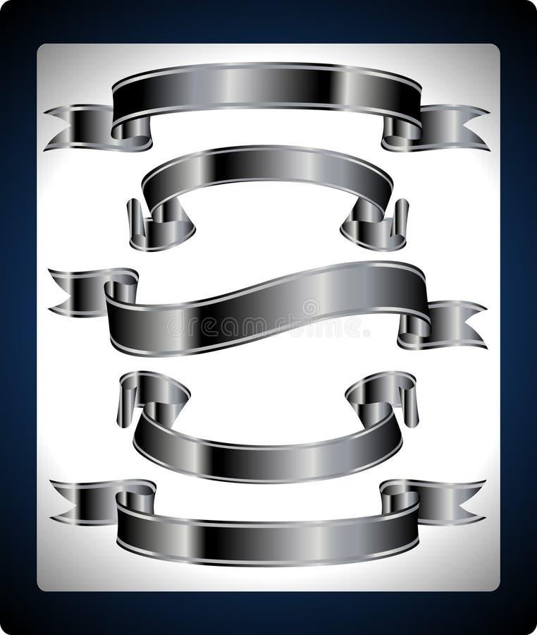 baner metal seten vektor illustrationer
