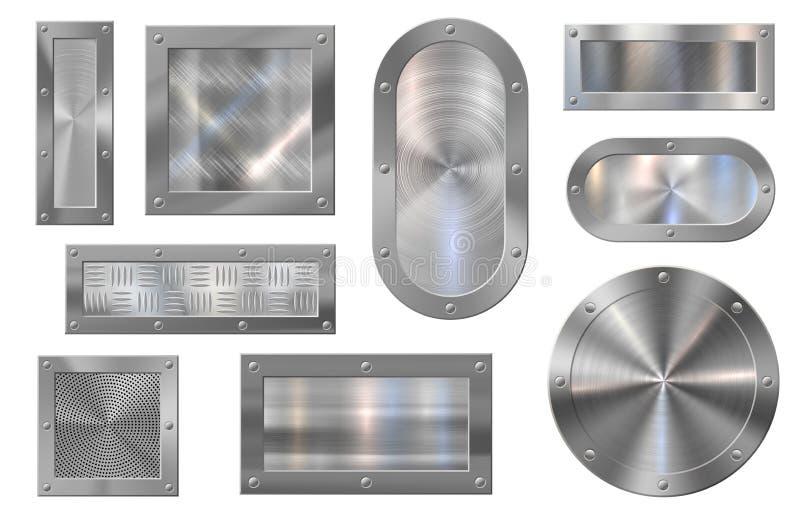 Baner metalowy Szyldy stalowe, wstęgi z metali szczotkowanych i rama z aluminium metalicznego wektorowe royalty ilustracja
