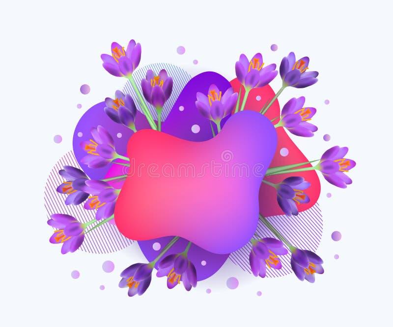Baner na sprzedaż sezonową z izolowaną ilustracją wektora neonu i kwiatów royalty ilustracja