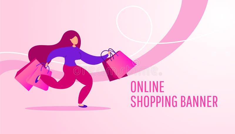 Baner na zakupy online z młodą dziewczyną z pakietami prezentów na różowym tle ilustracja wektor