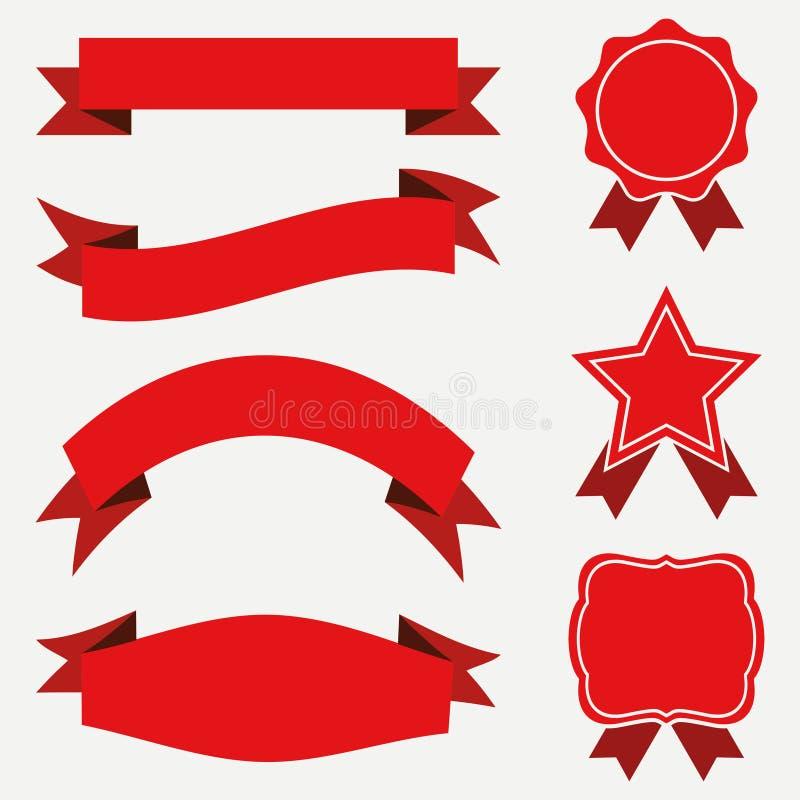 Baner och band, etikettuppsättning Röda klistermärkear på vit bakgrund royaltyfri illustrationer