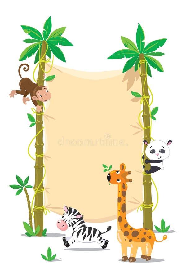 Baner på palmträd två med små roliga djur stock illustrationer