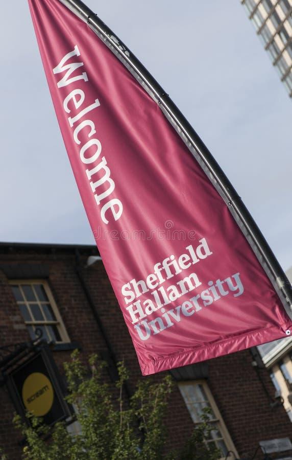 Baner på Sheffield Hallam University, Sheffield, UK - September 2013 fotografering för bildbyråer