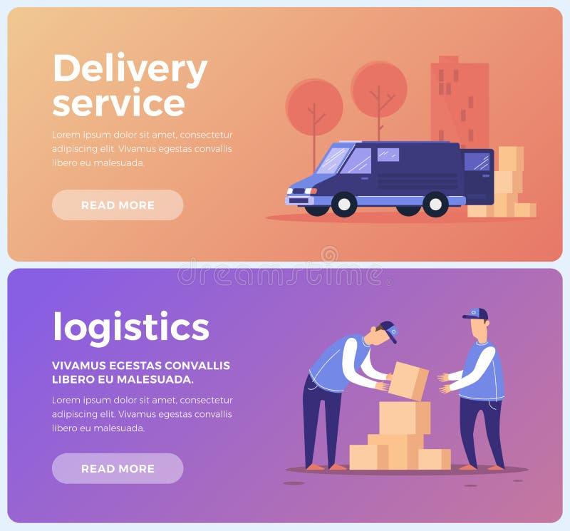 Baner på tema av den tjänste- leveransen och logistiken Personal och transport av godsleveransen royaltyfri illustrationer