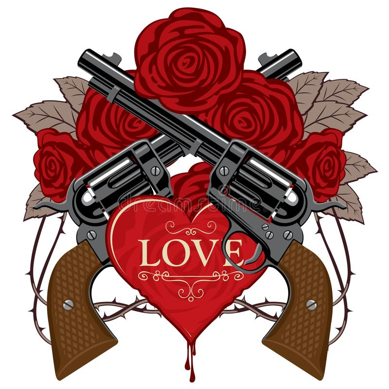 Baner på temat av förälskelse och död med pistoler royaltyfri illustrationer