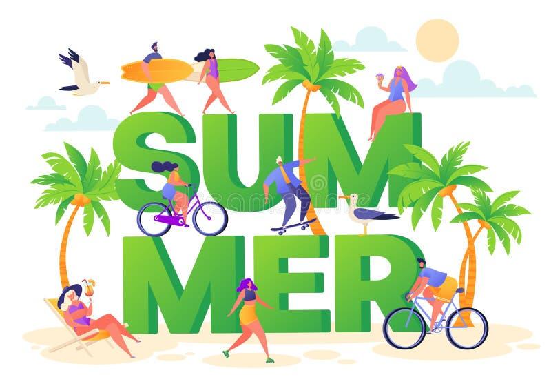 Baner p? tema f?r sommarsemester Utomhus- aktivitet och att vila p? stranden royaltyfri illustrationer