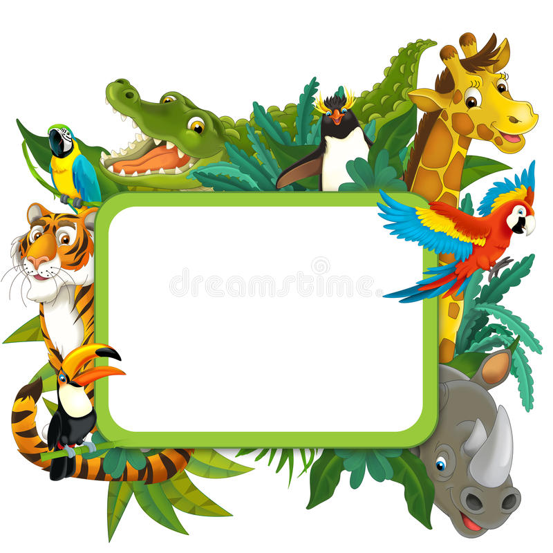 Baner - ram - gräns - tema för djungelsafari - illustration för barnen royaltyfri illustrationer